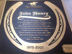 2014 plaque honoring John Henry racehorse
