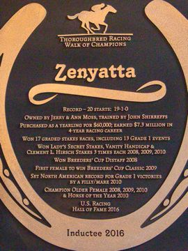 Zenyatta plaque festivities set
