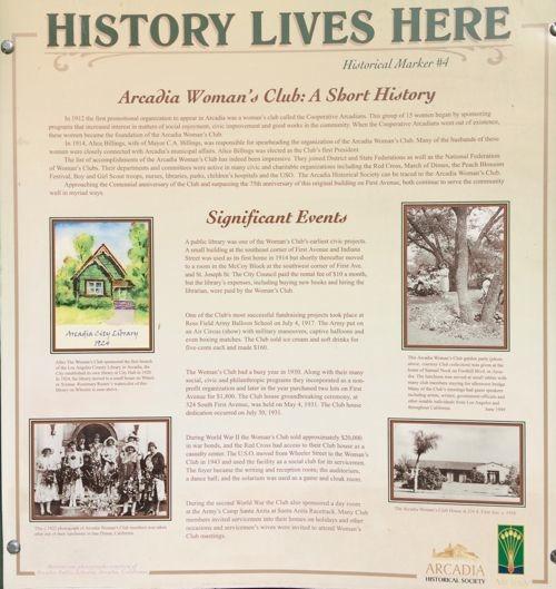 Arcadia Historical Marker No. 4