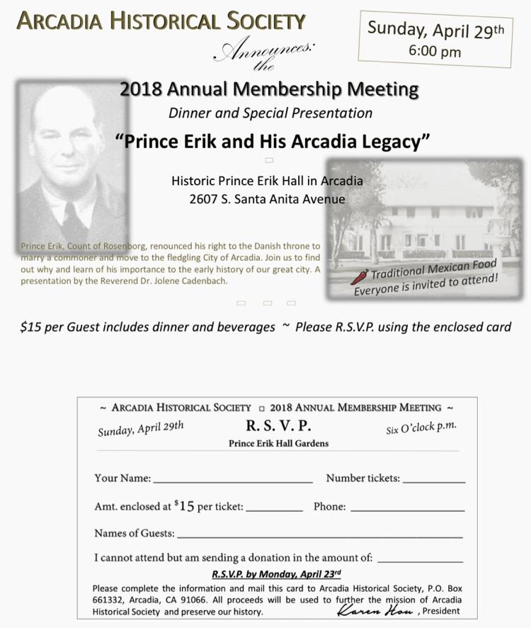 Arcadia S Prince Erik Profiled At Membership Meeting